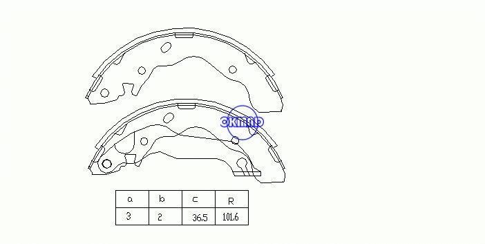 ヒュンダイエラントラサルーン(XD)ドラムブレーキシューズFMSI:1495-S715 OEM:58305-29A10 FSB607 SA062 GS8678、OK-BS119